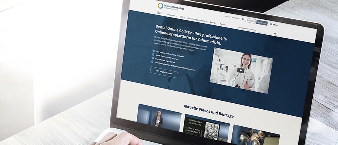 Bildschirmanzeige des Dental Online College