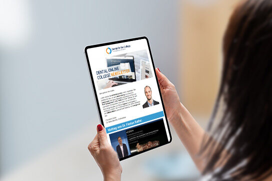 Dental Online College | Newsletter auf Tablet